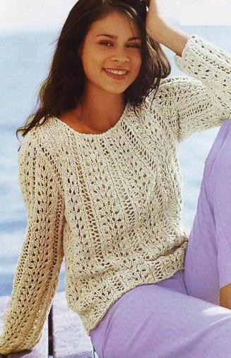 Связать ажурный пуловер